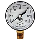 "Winters PEM Series Plastic Dual Scale Economical All Purpose Pressure Gauge with Brass Internals, 0-60 psi, 2"" Dial Display, -3-2-3% Accuracy, 1/4"" NPT Bottom Mount, Pool Gauge"