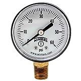 "Winters PEM Series Plastic Dual Scale Economical All Purpose Pressure Gauge with Brass Internals, 0-60 psi, 2"" Dial Display, +/-3-2-3% Accuracy, 1/4"" NPT Bottom Mount , Pool Gauge"