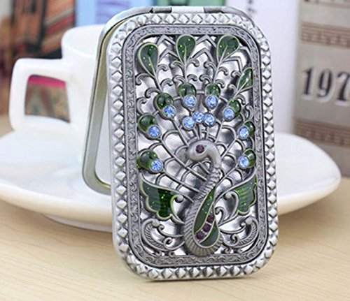 3 Pack Antique Flower Vintage Compact Metal Purse Mirror, Wedding / Thanksgiving / Christmas Gift,Silver