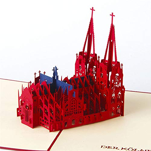 Greeting Cards,3D Pop Up Cathedral Wedding Lover Happy Birthday Anniversary Greeting Cards GOL 3D Church Building Greeting Card Postcard