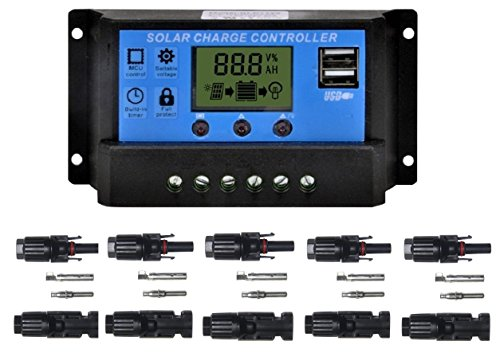 - Sunway Solar Panel Charge Controller Regulator 20A 12V/24V with USB Port, Packed with 5pairs MC4 Connectors Female/Male for Solar Power Battery Charger System Kit