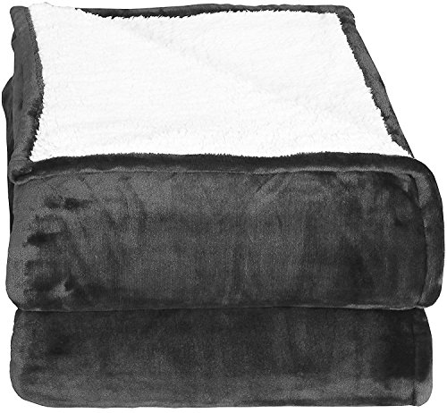 Sherpa Flannel Fleece Reversible Blankets (Queen)- Grey - Extra Soft Brush Fabric, Super Warm Bed Blanket, Lightweight Cozy Couch Blanket, Easy Care - by Utopia Bedding (Blanket Sherpa)
