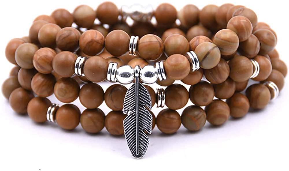Self-Discovery 108 Bead Japa Mala Meditation Bracelet Necklace for Men or Womens Yoga Jewelry