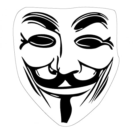 V for vendetta sticker adhesive decal guy fawkes mask 4 x 4 inches