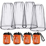 RilexAwhile Mosquito Head Net Face Grey Head Protecting Net Cover for Outdoor Activity with Free Carry Bags, 4 Pack