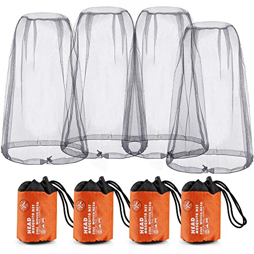 RilexAwhile Mosquito Head Net Face Grey Head Protecting Net Cover for Outdoor Activity with Free Carry Bags, 4 Pack by RilexAwhile
