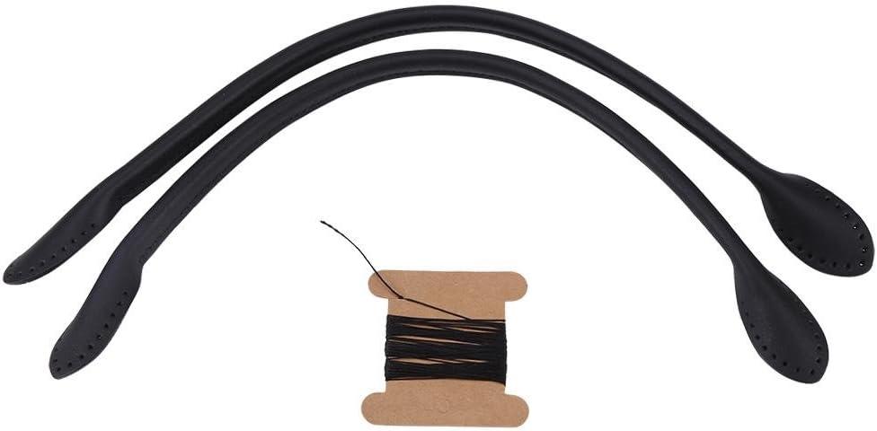 Correas de Manijas de Cuero Genuino de Bolso para Accesorios Manual de DIY con Rollo de Hilo (Negro)