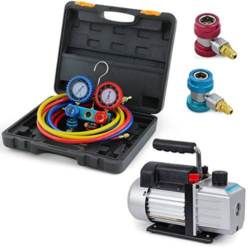 ARKSEN Vacuum Pump (4CFM, 1/3HP) & A/C Refrigeration Manifold Gauge (R134A) -