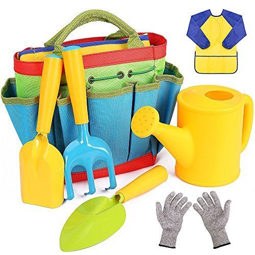 Flykin Kids Gardening Tools, 7 Piece Garden tool set for Kids with Watering Can, Gardening Gloves, Shovel, Rake, Trowel and Kids Smock, All in One Gardening Tote by Generic
