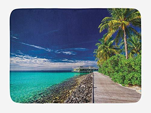 (Weeosazg Ocean Bath Mat, A Wooden Boardwalk at The Beach Palm Trees in Dark Sky Hawaiian Paradise Scene, Plush Bathroom Decor Mat with Non Slip Backing, 31.5 X 19.7 Inches,)
