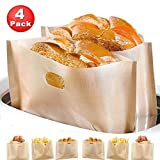 : Non Stick Toaster Bags (Set of 4) Reusable and Heat Resistant Easy to Clean,Perfect for Sandwiches Pastries Pizza Slices Chicken Nuggets Fish Vegetables Panini & Garlic Toast