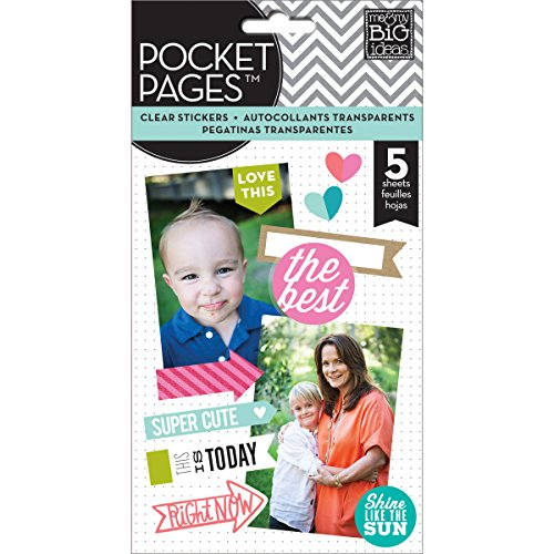 - me & my BIG ideas Pocket Pages Sticker, Happy in Bright Lettering, Flip Pack