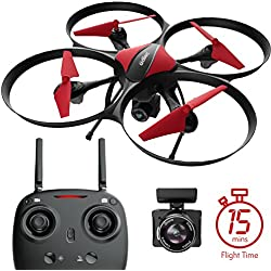 U49C Red Heron Quadcopter Drone with Camera, SD Card & Bonus Battery Bundle