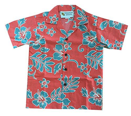 Made In Hawaii ! Boy's Classic Hibiscus Hawaiian Aloha Shirt (6, Coral/Blue)