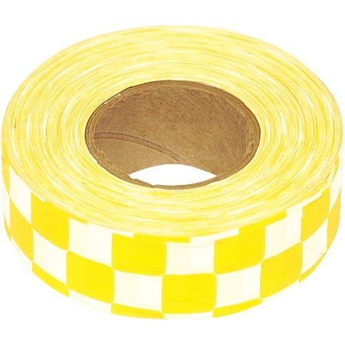 Flagging Tape, 1-3/16 Inches Wide x 300 Foot Roll (Yellow and White Checkerboard)