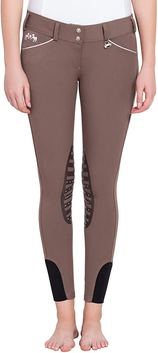 Equine Couture Brittni Knee Patch Riding Breeches Ladies Front Zip