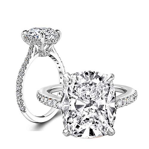 (Erllo 6 Carat Clear Cushion Cut CZ Cubic Zirconia Solitaire Wedding Engagement Ring 925 Sterling Silver (Rhodium-Plated-Silver, 8))