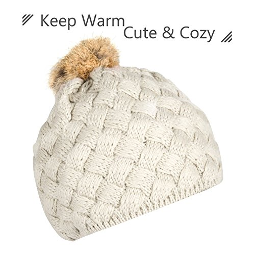 Zodaca Winter Warm Comfort Soft Crochet Pom Pom Beanie Knit Hat for Baby, Boys, Girls, Infant, Toddler, Beige