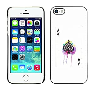 Plastic Shell Protective Case Cover || Apple iPhone 5 / 5S || Poker Game White Black Card @XPTECH