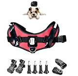 ASOCEA Adjustable Fetch Harness Dog Chest Strap Belt Mount for Gopro Hero 6/5/4/3+/3/2/1 AKASO EK7000 Brave 4k V50 Crosstour Campark YI Discovery 4k Waterproof Action Camera