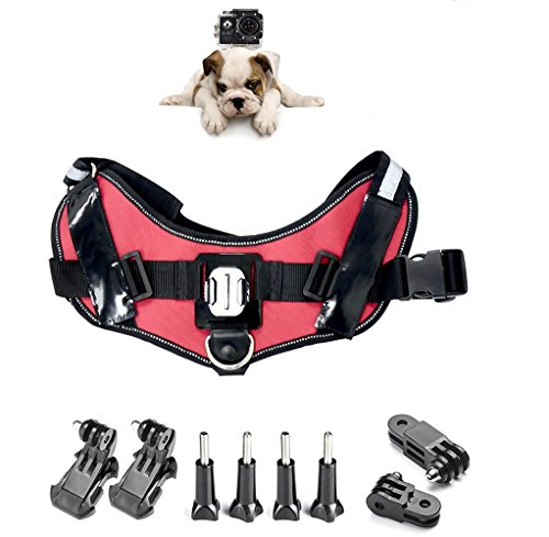 ASOCEA Adjustable Fetch Harness Dog Chest Strap Belt Mount for Gopro Hero 6/5/4/3+/3/2/1 AKASO EK7000 Brave 4k V50 Crosstour Campark YI Discovery 4k Waterproof Action Camera