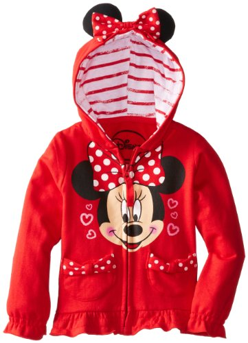 Girls' Minnie Polka Dot Bow Toddler Hoodie, Red, 3T ()