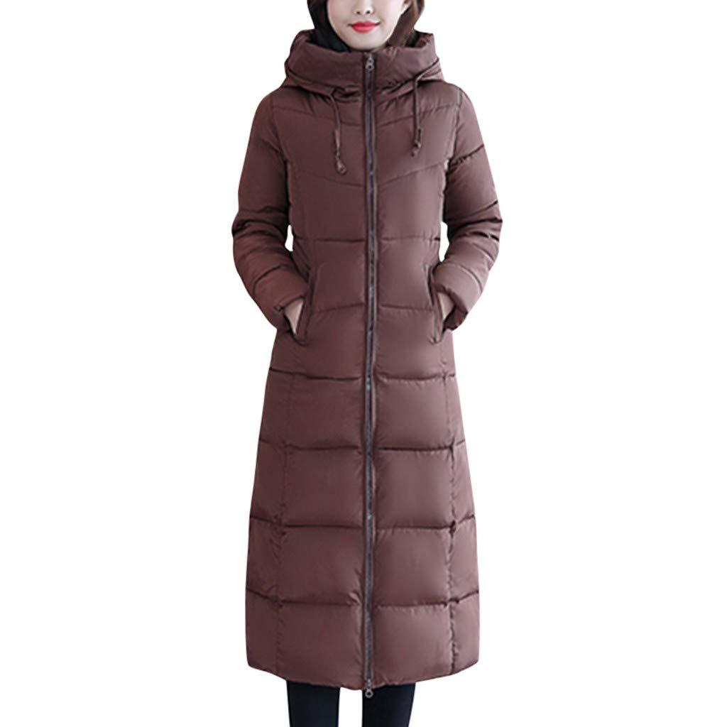 Fashionhe Women Warm Down Jacket Slim Outwear Knee Length Thick Hoodie Coat Long Sleeve Casual Loose Top(Coffee. 6XL) by Fashionhe
