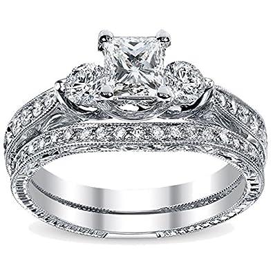 c7fc0dd25c9 1.00 Carat Vintage Wedding Ring Set Princess cut Diamond on 14K White gold   JeenJewels  Amazon.co.uk  Jewellery