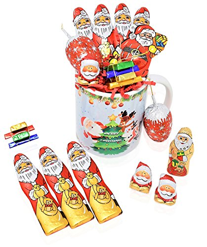 Christmas Mug Chocolate Gift Set - 16 Piece Gift Pack with Riegelein's Santa's and Christmas Chocolate Varieties - Christmas Gift Basket for Family, Friends, Her, Him and more