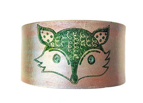 Celtic Fox Emerald Green and Silver Genuine Leather Cuff Bracelet (Adult Silver Werewolf Costume)
