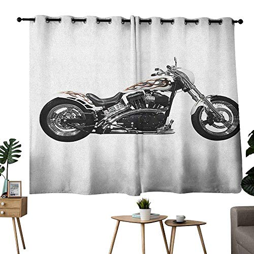 Threads Bike Hot Throttle - Warm Curtain Manly Motorbike Hipster Style Dangerous Risky Ride Driving Vehicle Throttle Chopper Black White Grey Tie Up Window Drapes Living Room W55 xL39
