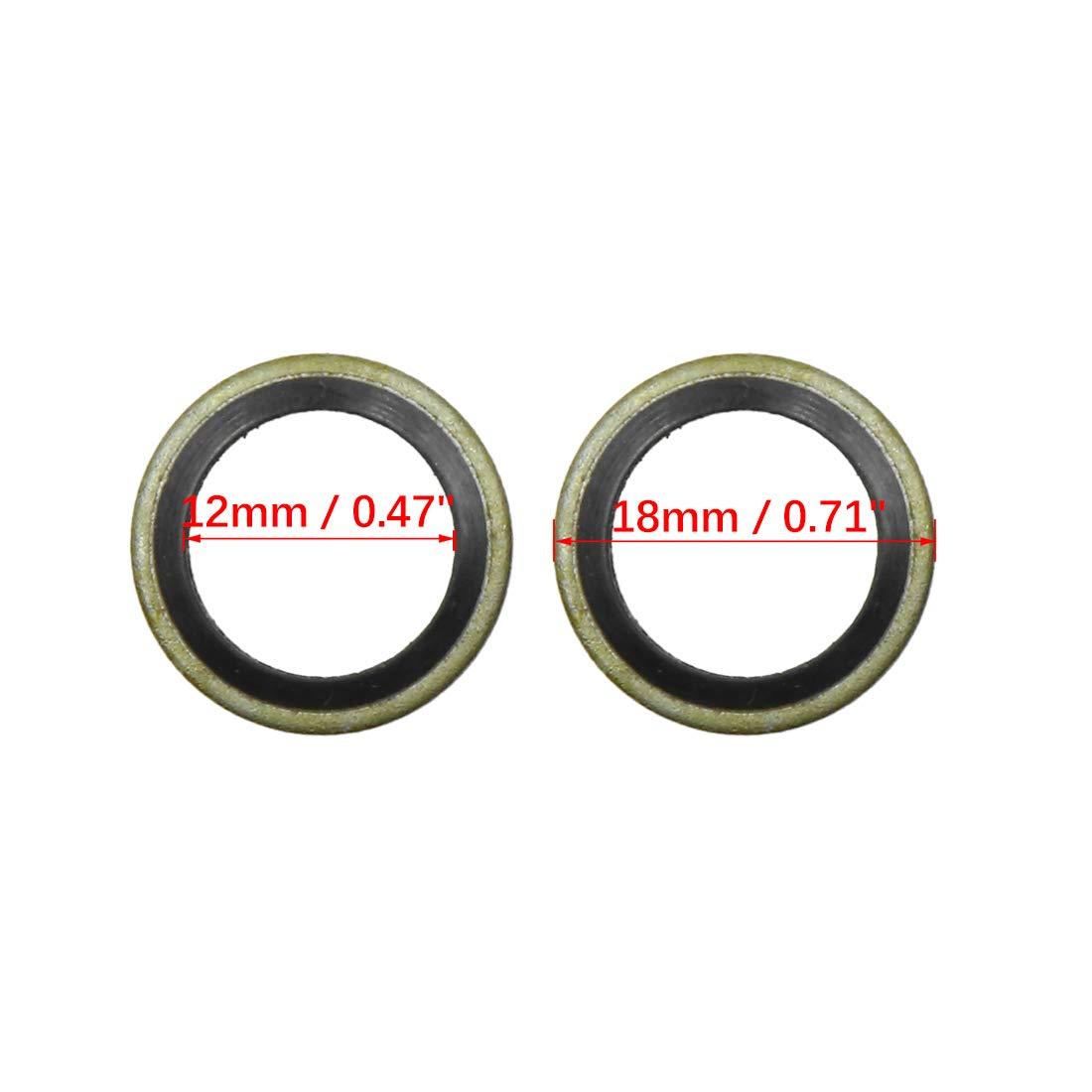 16mm OD for Car X AUTOHAUX 10pcs Engine Oil Crush Washers Drain Plug Gaskets 10mm ID