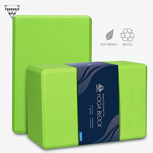 Forbidden Road Cork/EVA Yoga Block Yoga Exercise Blocks Bricks Set Natural Eco Friendly Sturdy Support Muscle Stretch Deepen Poses for Fitness Gym (Green (2 Blocks - 469 inch), 469 inch)