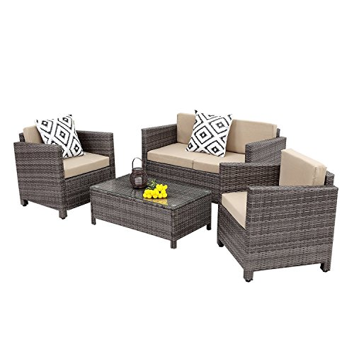 Wisteria Lane Outdoor Patio Furniture Set, 5 Piece Rattan Wicker Sofa Cushioned with Coffee Table, Grey Wicker (Deep Loveseat Seating Frame)