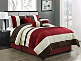 HGS 7-Pc Yuma Diamond Stripe Southwest Embroidery Pleated Comforter Set Burgundy Red Beige Brown King
