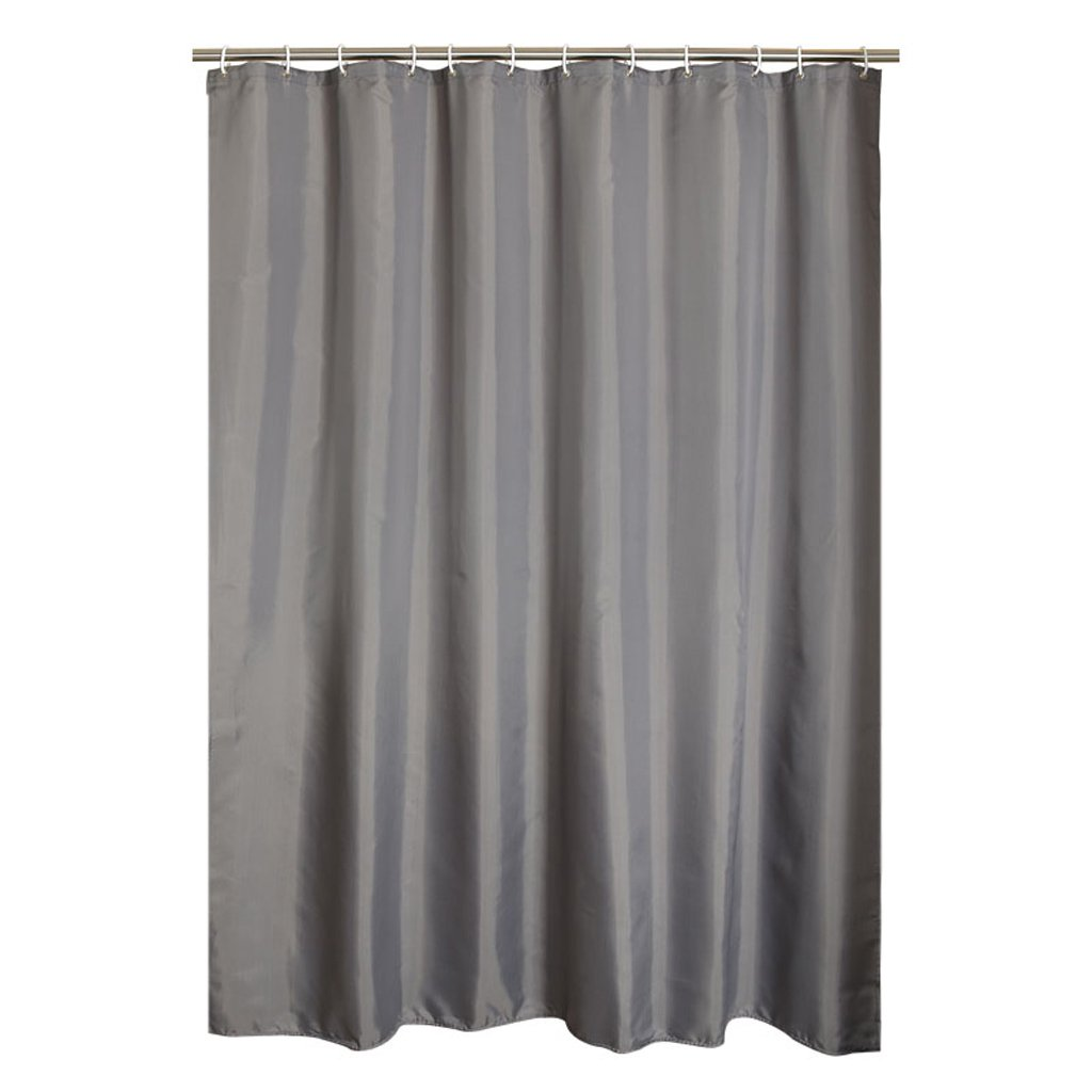 Curtain Mildew-Free Water-Repellent Fabric Shower Curtain,Padded Polyester Shower Curtain, Send Hook, Gray Shower Equipment (Size : 180200cm)