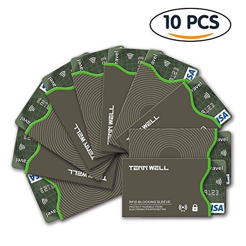 Tenn Well 10 Stück RFID-Schutzhülle, RFID Bankkarten Schutzhülle für Kreditkarten, bietet Schutz für Personalausweis und andere Chipkarte