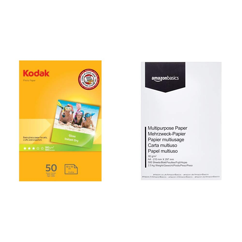 Kodak High Gloss - Papel fotográfico, A6, 10 x 15, 50 hojas & AmazonBasics Papel multiusos para impresora A4 80gsm, 1 paquete, 500 hojas, blanco