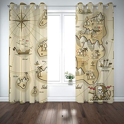 SCOCICI Grommet Polyester Window Curtains Drapes [ Pirate,Hand Drawn Map Treasure Island Sea Adventure Ocean Navigation Compass,Light Brown Sand Brown] Living Room Bedroom Kitchen Cafe for $<!--$75.41-->