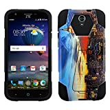 ZTE Grand X 3 Hybrid Case New York City View Twilight 2 Piece Style Silicone Case Cover with Stand for ZTE Grand X 3