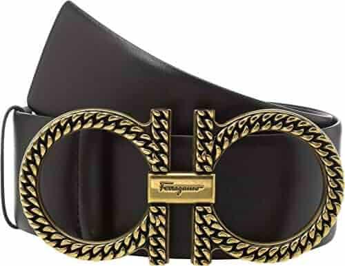 7ed122d88e921 Salvatore Ferragamo Women's Adjustable Gancini Belt w/Gold Hardware Nero 80  (32