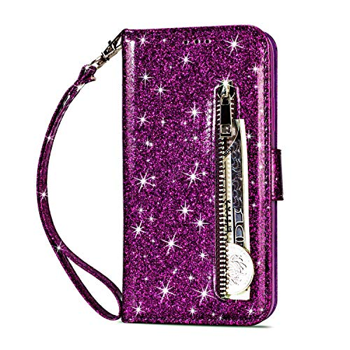 Glitter Magnet - iPhone 6S Plus Wallet Case,Vodico iPhone 6 Plus Durable Magnet Flip Folio Luxury Glitter Sparkly Bling Leather Stand Cover Zipper Pocket Purse with Credit Card Holder&Wrist Strap for Women (Purple)