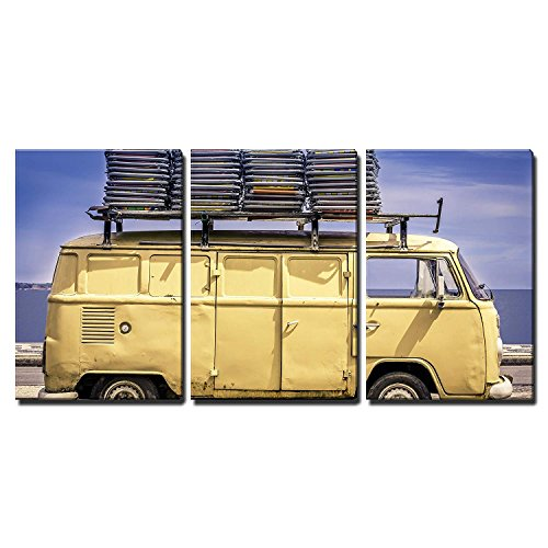 wall26 - 3 Piece Canvas Wall Art - Vintage Van in The Beach of Ipanema with Chairs on The Roof - Modern Home Decor Stretched and Framed Ready to Hang - 24