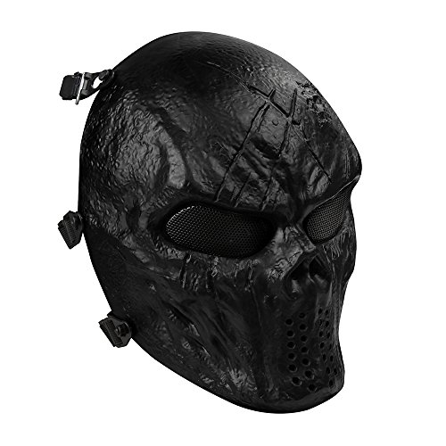 OutdoorMaster Airsoft Mask - Full Face Mask with Mesh Eye Protection (Black) -