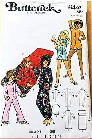 S Butterick 6441 - Patrón de costura para pijama y saco de dormir ...