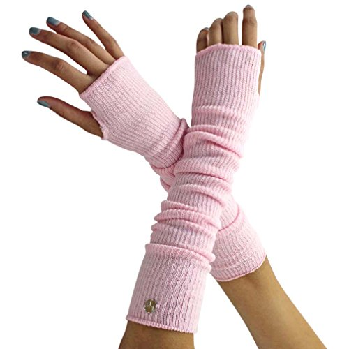 Pink Long Arm Warmers With Thumb Hole (Pink Arm Warmers)