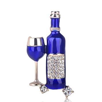 CYTCYAZHOU Broche Botella De Vino Tinto Esmaltado Copa ...