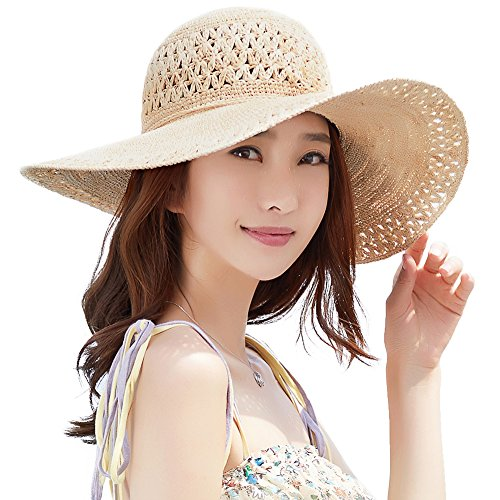 Siggi Womens 100% Raffia Straw Crochet Hat Foldable UPF Summer Beach Sun Hats 56-58CM Beige