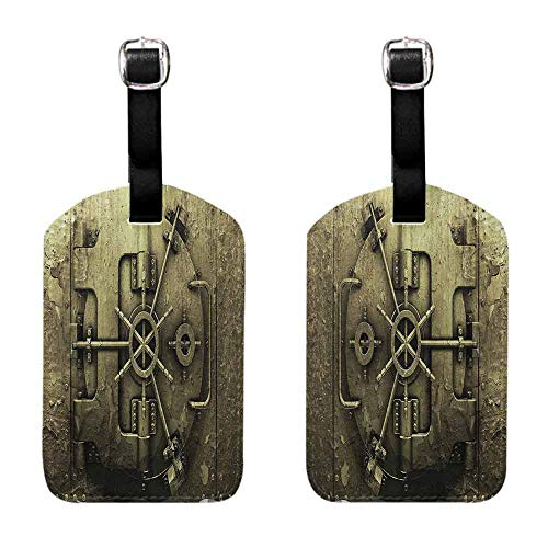 Tags with Rustic Decor Collection,Grunge Style Bank Vault Illustration Safe Secure Precious Treasure Protection Image Pritn,Dark Olive Travel Identifier