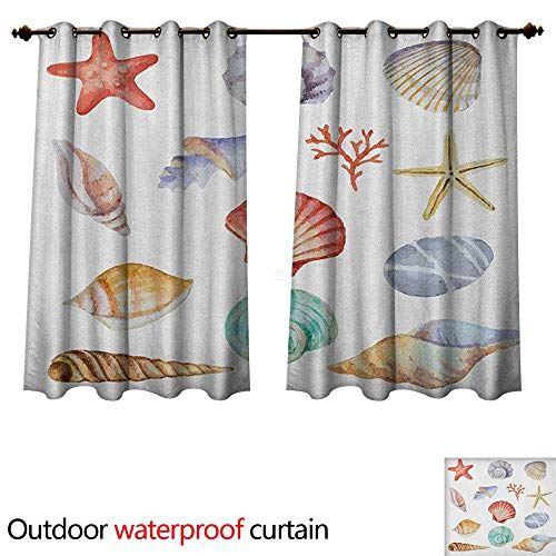 Nautical Outdoor Balcony Privacy Curtain Collection of Different Type Seashells Scallop Mollusk Summer Exotic Creatures Animals W96 x L72(245cm x 183cm)